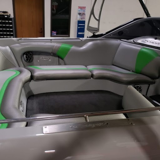 2011 Sanger gets new upholstery at James Boat Repair - inside rear seating area from right side