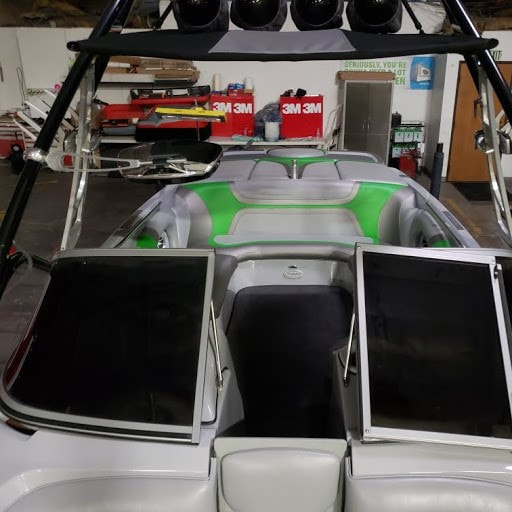 2011 Sanger gets new upholstery at James Boat Repair - a look through open front windshield