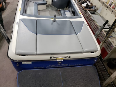 Rear deck gets new upholstery by James Boat Repair on this Ski Centurion